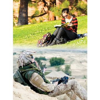 contrast-student-on-grass-beside-picture-of-soldier