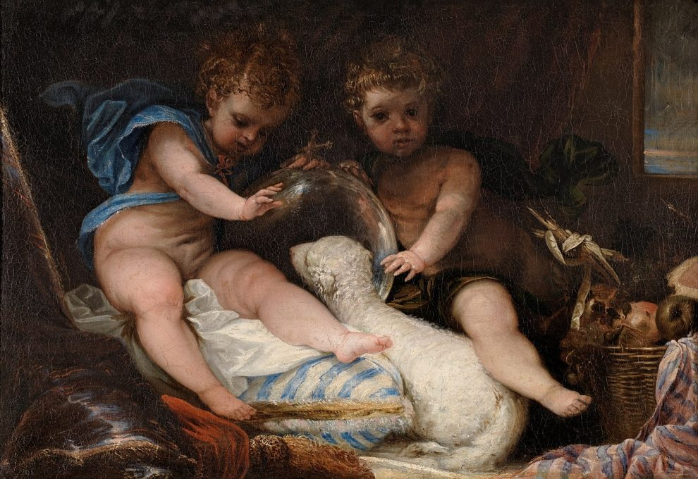 two-children-with-lamb