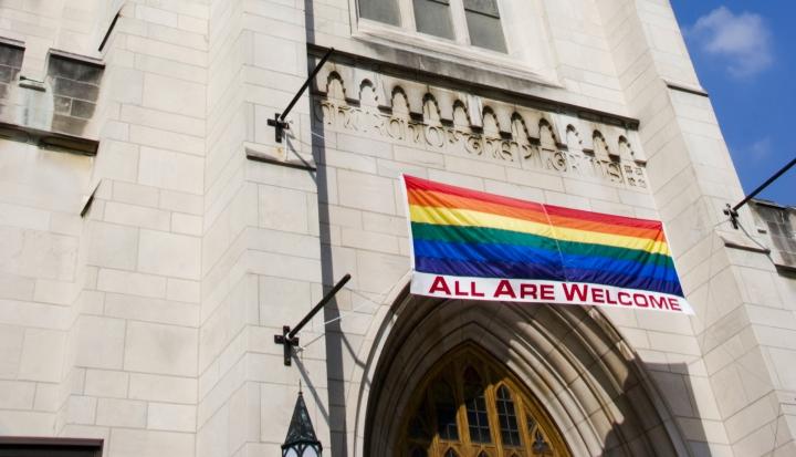 rainbow-flag-hanging-on-church