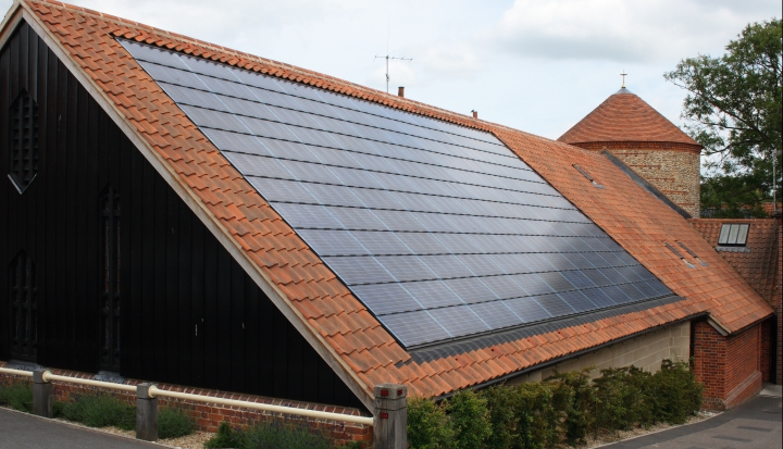 church with solar panels_Flickr