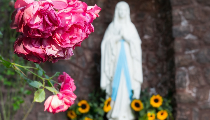 Mary-statue-surrounded-by-flowers