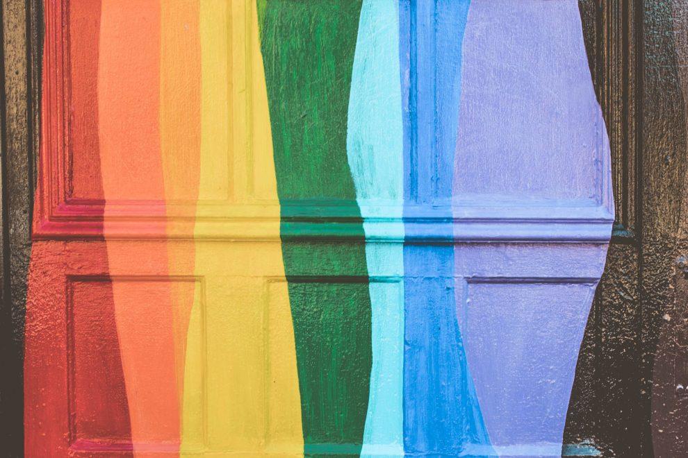 rainbow-colors-painted-wooden-door