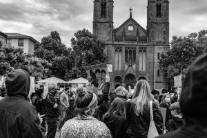 black-and-white-people-in-front-of-church