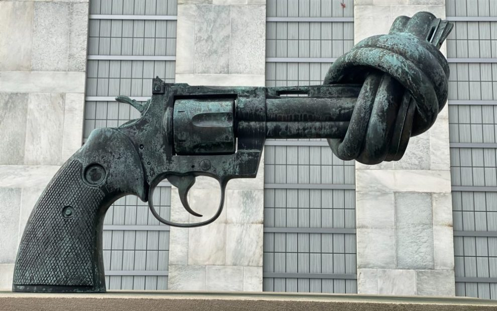 statue-of-gun-with-twisted-barrel