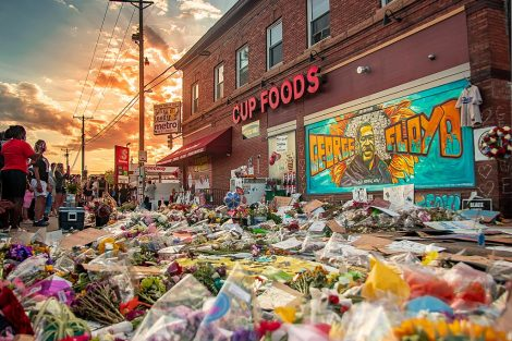 Flowers-and-tributes-in-front-Cup-Foods-Minneapolis-where-George-Floyd-killed