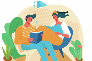 illustration-of-couple-relaxing-at-home