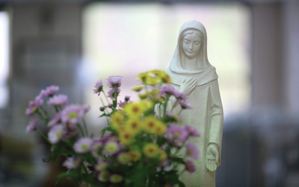 bouquet-of-flowers-with-statue-of-mary